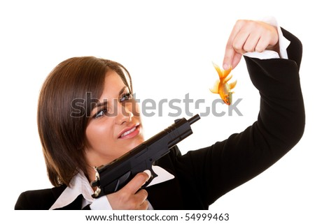 young attractive dangerous woman holding one gold fish