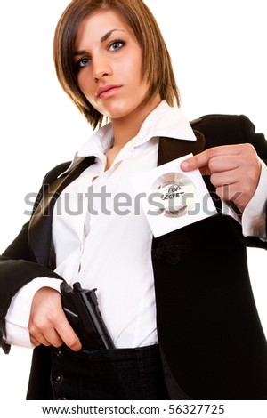 young attractive detective woman guarding top secret