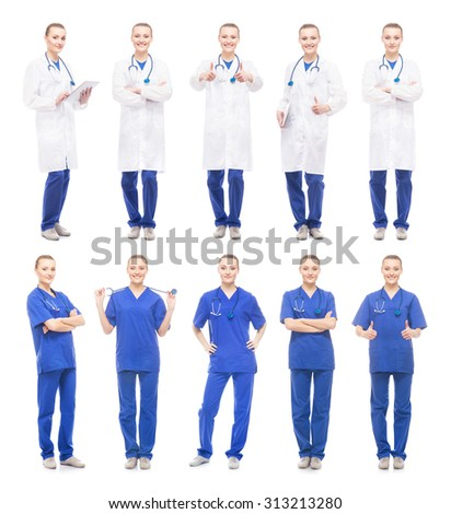 Young, attractive doctor isolated on white background. Collection of medical workers.