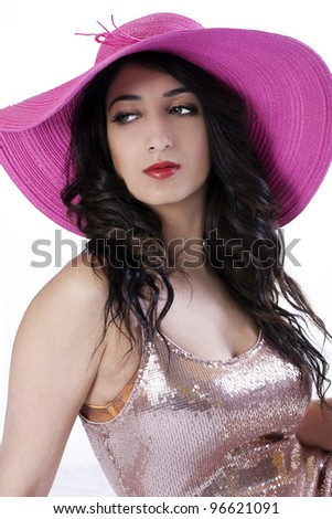 Young Attractive East Indian Woman in Hat