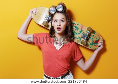 young attractive fashionable woman hipster style - stock photo