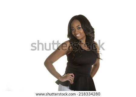 Young attractive female looking at the camera - stock photo
