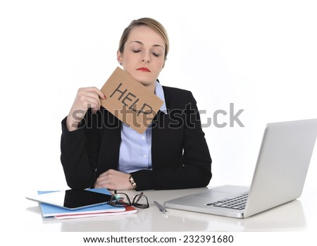 young attractive frustrated and tired businesswoman holding help sign message overworked at office computer, exhausted, sad under pressure and stress isolated on white - stock photo