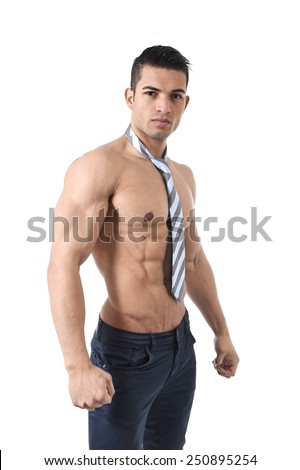 young attractive gay and homosexual man with necktie and strong naked torso showing ripped muscle body and six pack abdominals standing alone isolated on white - stock photo