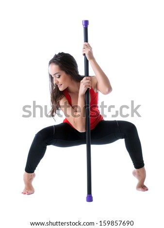 Young attractive girl exercising with fitbar - stock photo