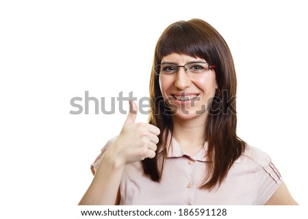 young attractive girl in glasses on a white background isolation