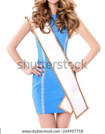 Young attractive girl in mini skirt wearing beauty contest sash.No Face, blank space for text. - stock photo