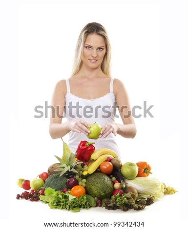 Young attractive girl with a pile of fruits and vegetables isolated on white