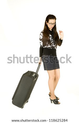 young attractive girl with a suitcase