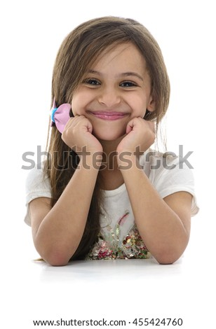 Young Attractive Girl With Beautiful Smile Isolated on White Background - stock photo