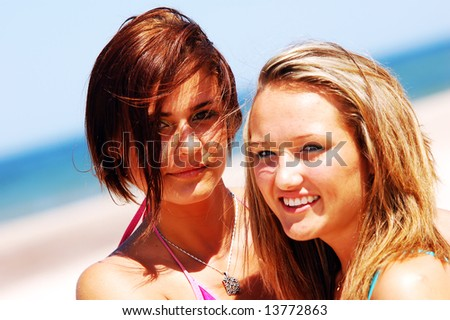 Young attractive girls enjoying summertime