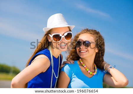 young attractive girls having fun together, spend fun time with friends