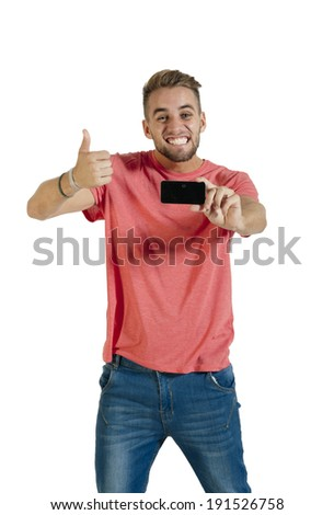 Young attractive guy taking selfie with mobile phone camera - stock photo