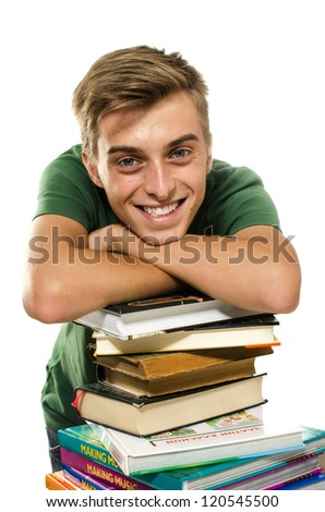 Young attractive happy student with stack of books over white background