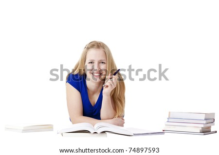 Young, attractive, happy woman learning at floor with books. Isolated on white background.