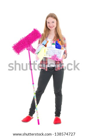 young attractive housewife with mop and cleaning supplies isolated on white background
