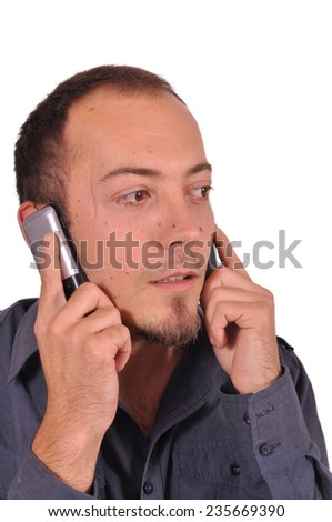 Young attractive is busy on the phone