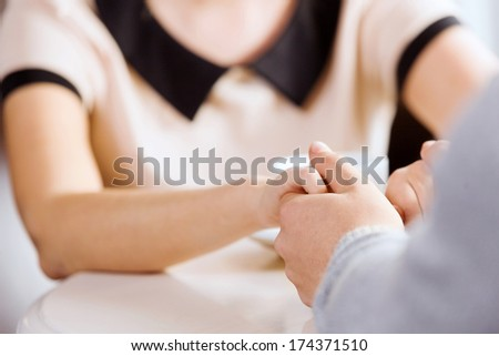 Young attractive lady having date at cafe - stock photo