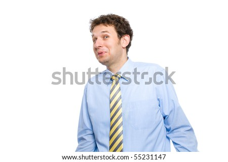 young attractive male looks very surprised, shocked by something, but also very positive and happy, makes funny face, studio shoot isolated on white background - stock photo