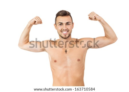 young attractive man in jeans and naked body isolated on white background
