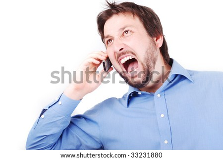 Young attractive man is bawling on his cell phone