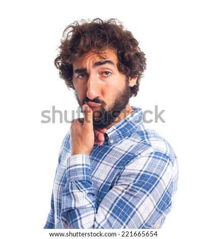 young attractive man seducing - stock photo