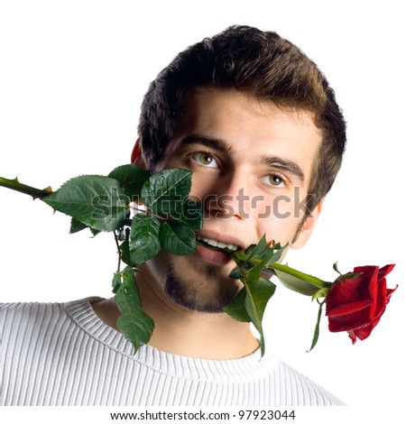 Young attractive man with rose, isolated over white background - stock photo