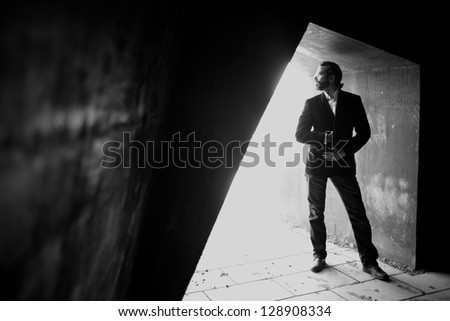 Young attractive man with suit - stock photo