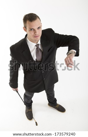 young attractive man with watch and whip on white