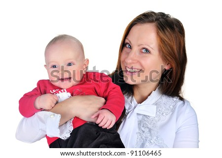 young attractive mom with cute baby boy