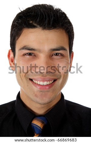 Young attractive nepalese businessman with happy expression,  Studio shot. White background. - stock photo