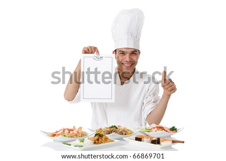 Young attractive nepalese man chef showing menu list and thumb up. Diversity of oriental meals on plates. Studio shot, white background. - stock photo