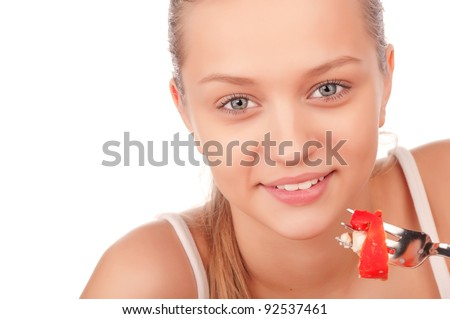 young attractive smiling caucasian woman eating vegetarian tomato and paprika salad, beauty young girl eating vegetable salad, portrait of attractive woman with plate of salad,isolated on white - stock photo