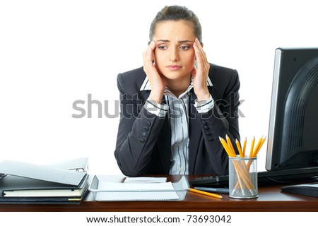 young attractive stressed and depressed office worker, isolated on white background