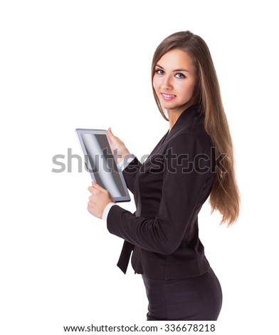 Young, attractive, successful business woman, is studying the contract on the tablet.