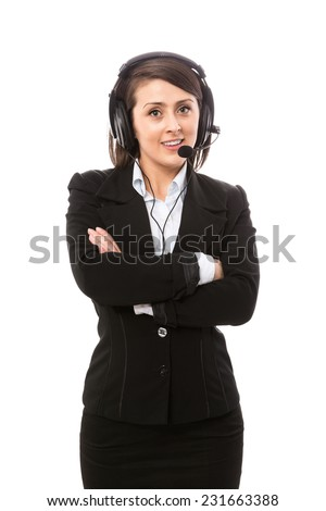 Young attractive support operator - stock photo