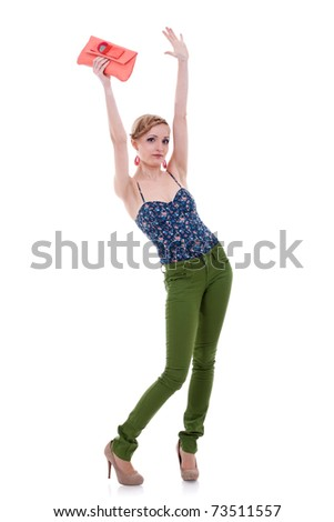 young attractive surprised female in red strapless dress, studio shoot isolated on white background - stock photo