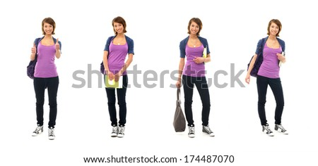 Young attractive teenage girl isolated on white - Collection of many different photos - stock photo