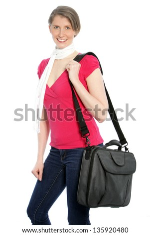 Young attractive woman carrying a laptop shoulder bag smiling at the camera.