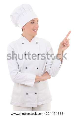 young attractive woman chef showing or presenting something isolated on white background - stock photo