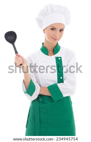 young attractive woman chef with big plastic scoop isolated on white background - stock photo