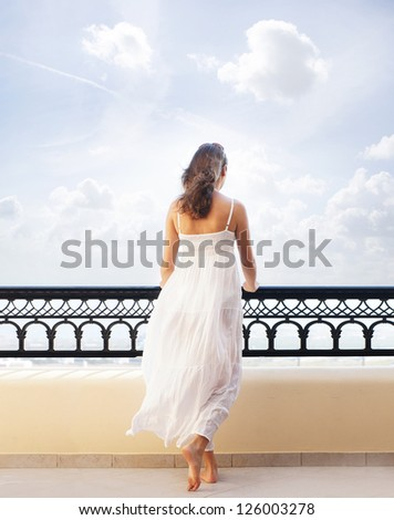 Young attractive woman chilling at the turist resort - stock photo