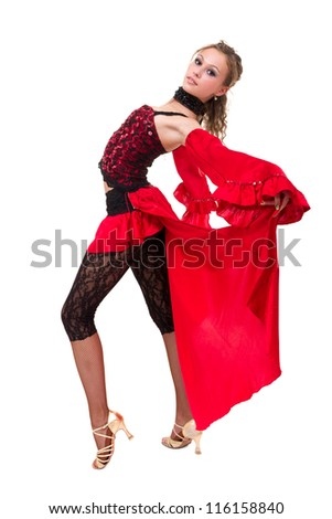 young attractive woman dancing flamenco against isolated white background - stock photo