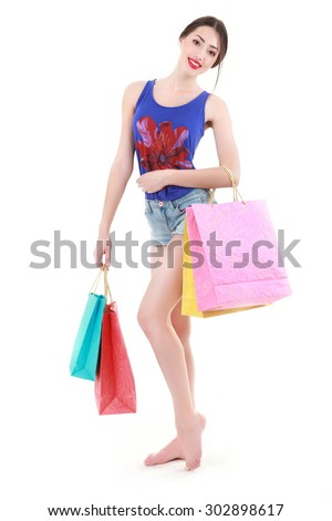 Young attractive woman does shopping