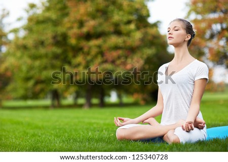 Young attractive woman doing yoga - stock photo