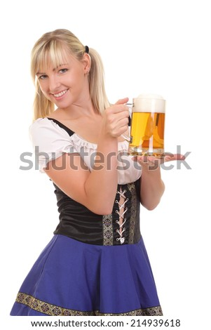 Young attractive woman holding a beer - stock photo