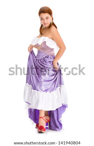 young attractive woman in ball dress. - stock photo
