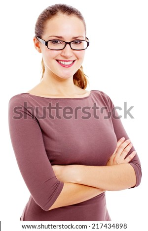Young attractive woman in black glasses with crossed arms on her chest isolated on white background
