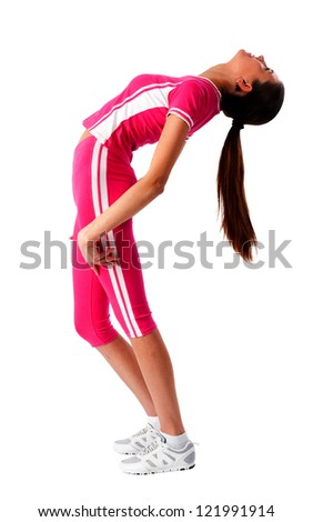 Young attractive woman in pink sport costume. Isolated on white - stock photo