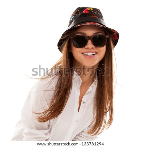 Young attractive woman in squared shirt and sunglasses